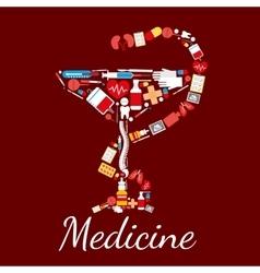 Medicine poster Bowl of Hygieia symbol vector image