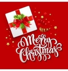 Merry Christmas greeting card Christmas gift box vector image