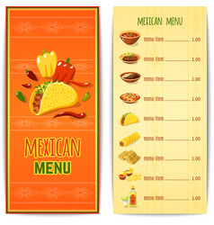 Mexican food menu vector