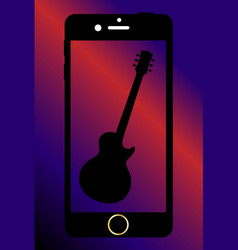 Mobile phone with guitar vector
