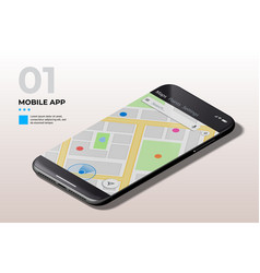 Modern mobile cell phone with gps map ui ux and vector