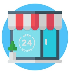 Open 24 hours storefront Modern colored flat vector image