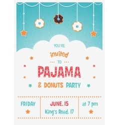 Pajama and donuts kids party invitation template vector