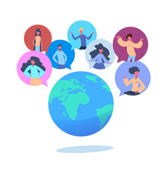people avatar chat bubbles earth world globe vector image