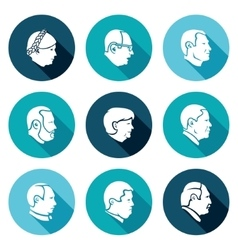 People head icons set vector