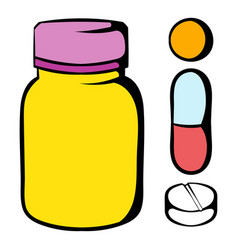 pills in a bottle icon icon cartoon vector image