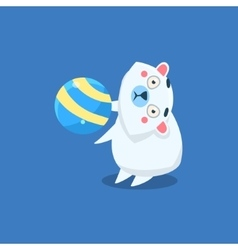 Polar Bear Playing Ball vector