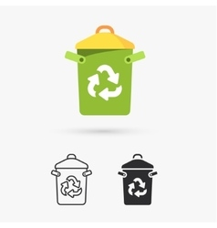 Recycle bin with recycle sign vector image vector image