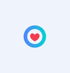 red heart in a blue circle abstract medical vector image
