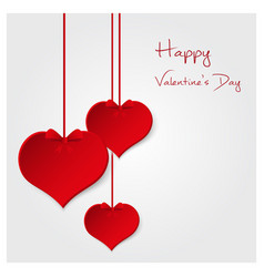red valentine hearths from paper hanging and happy vector image