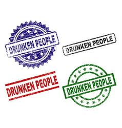 Scratched textured drunken people stamp seals vector
