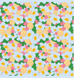 Seamless pattern bright flowers vector