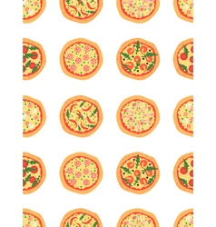seamless pattern with different pizza background vector image