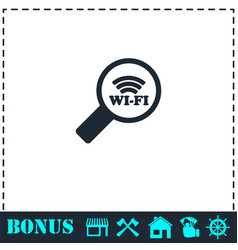 search wi-fi connection icon flat vector image