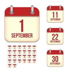 September calendar icons vector image