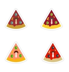 Set of paper stickers on white background slice of vector