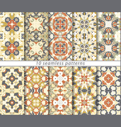 set of ten seamless abstract patterns vector image