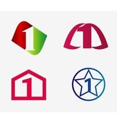 Sign number one logo set vector