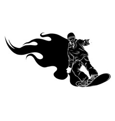 silhouette snowboard man on snow jumps on vector image
