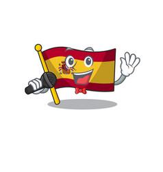 Singing flag spain isolated in cartoon vector