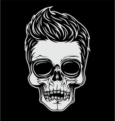 Skull With Stylish Hair vector image