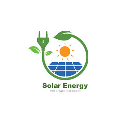 solar panel logo icon natural energy vector image