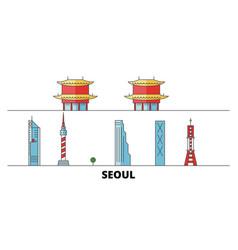 south korea seoul flat landmarks vector image