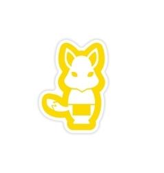 Stylish paper sticker on white background fox vector