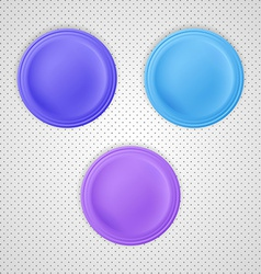 Three color blank badges vector