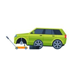 tire wheel changing auto service road accident vector image