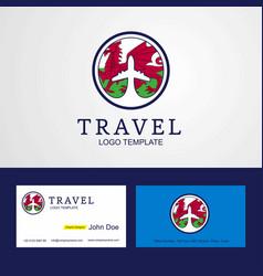 Travel wales creative circle flag logo and vector