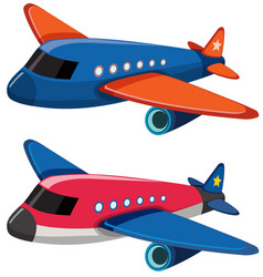 Two airplanes on white background vector