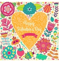 Valentine template greeting card Flowers in heart vector image