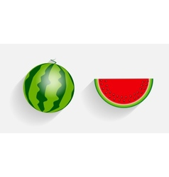 Watermelon icons with long shadows vector