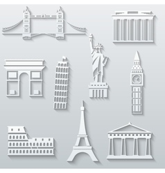 World landmarks abstract flat paper icons set vector image