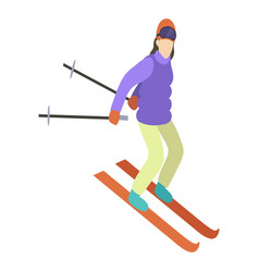 Young girl is riding a sky in stylish bright vector