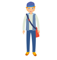 young male student wearing blue hat and pants vector image