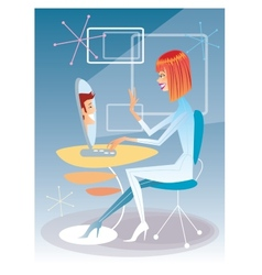 Young woman talking on the computer with the young vector image