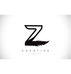 Z feather letter logo icon design with feather vector