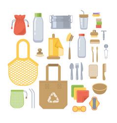 zero waste eco friendly utensils flat icons set vector image