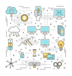 blockchain technology process vector image