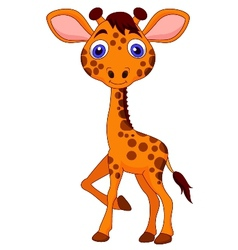 Cute baby giraffe cartoon vector image