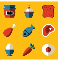 Flat icon set Food vector image vector image
