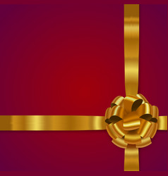 gold realistic bow with ribbons vector image