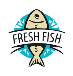 Logo fresh fish in a circle and tape vector