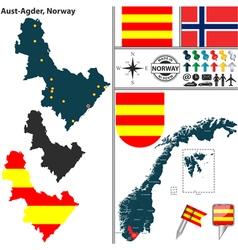 Map of aust agder vector