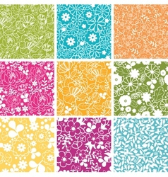 Set Of Nine Spring Flowers Seamless Patterns vector image