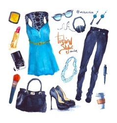Set of trendy look watercolor clothes vector
