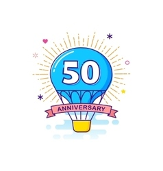Anniversary background with hot air balloon vector image vector image