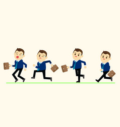 business man in run action on green ground vector image